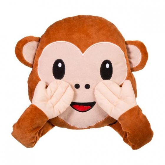 Amigo Emoticon aapje kussen pluche 30 x 36 cm bruin