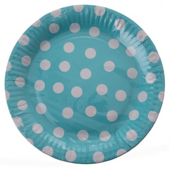 Amigo feestborden karton blauw gestipt 23 cm 6 stuks