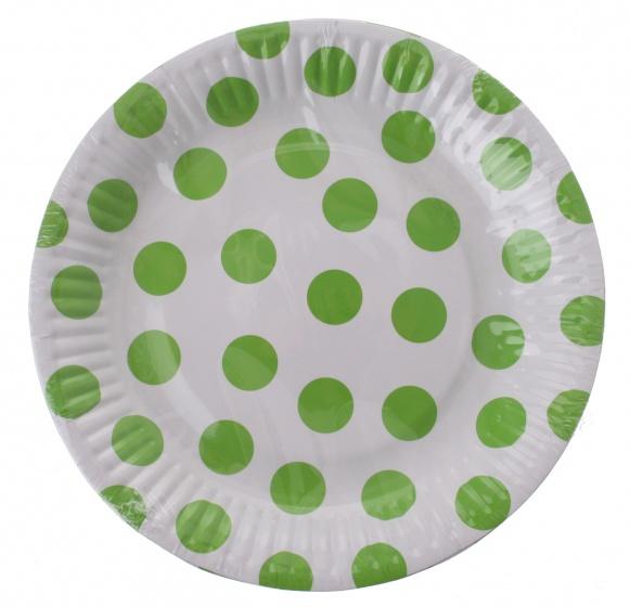 Amigo feestborden karton groen gestipt 18 cm 6 stuks