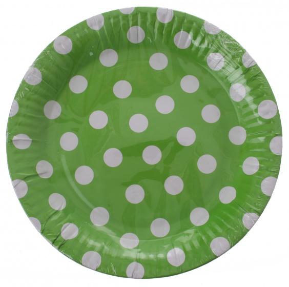 Amigo feestborden karton groen gestipt 23 cm 6 stuks