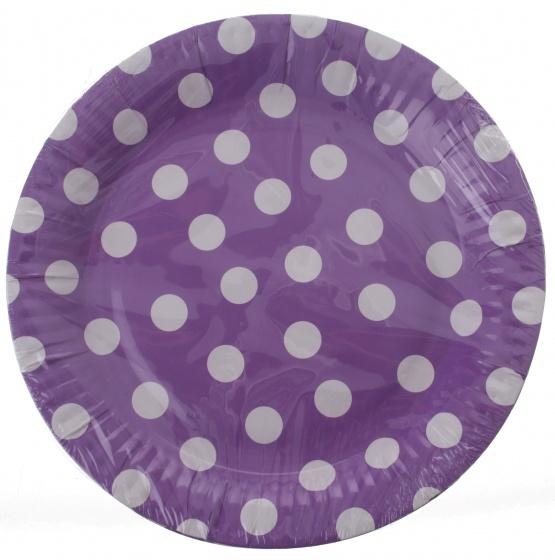Amigo feestborden karton paars gestipt 23 cm 6 stuks