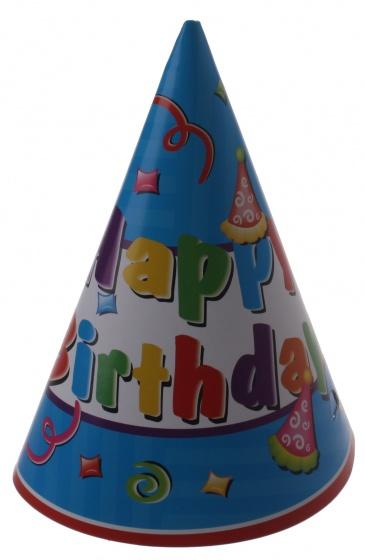 Amigo feesthoed Happy Birthday 6 stuks 17 cm blauw