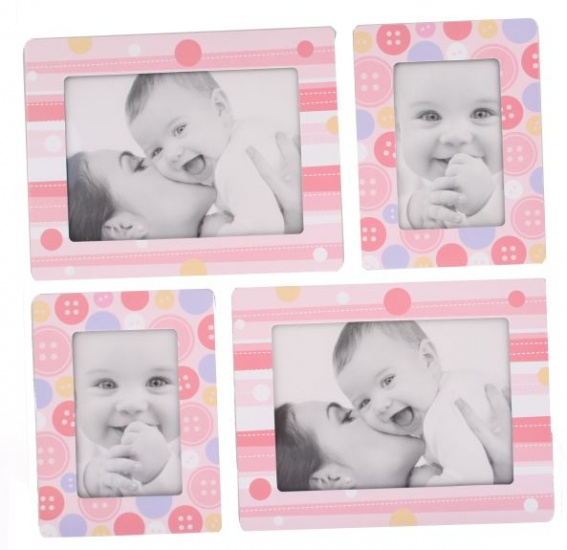 Amigo Fotolijstjes stickers Knopen roze