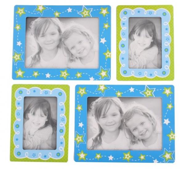 Amigo Fotolijstjes stickers sterren blauw/groen
