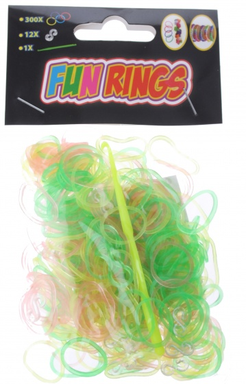 Amigo Fun Rings armband vlechten geel-groen-roze 313 delig