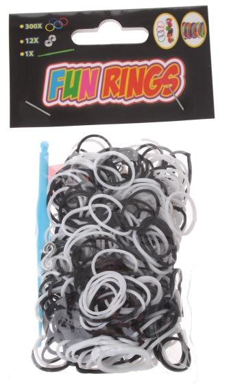 Amigo Fun Rings armband vlechten zwart/wit 313 delig