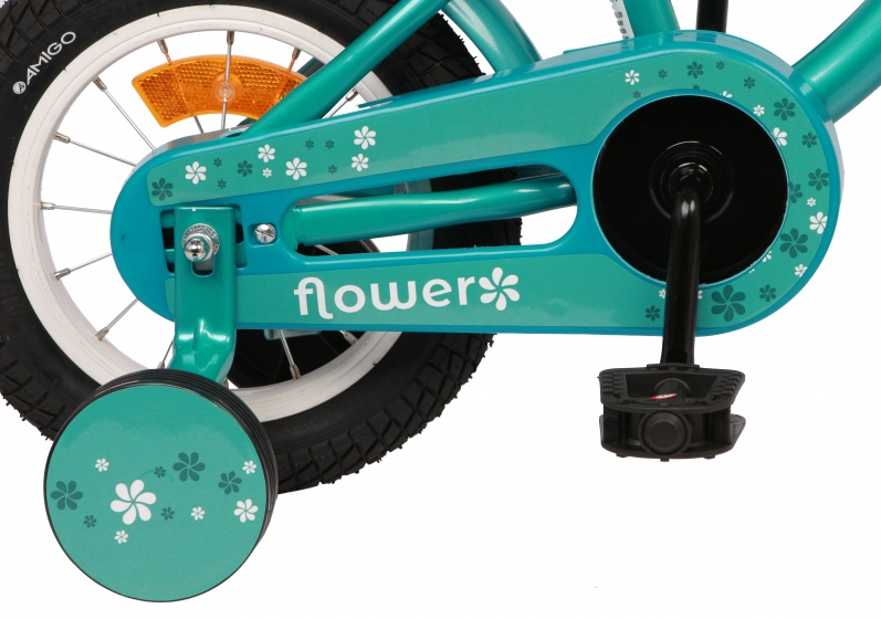 Flower 12 Inch 21,5 cm Girls Coaster Brake Turquoise