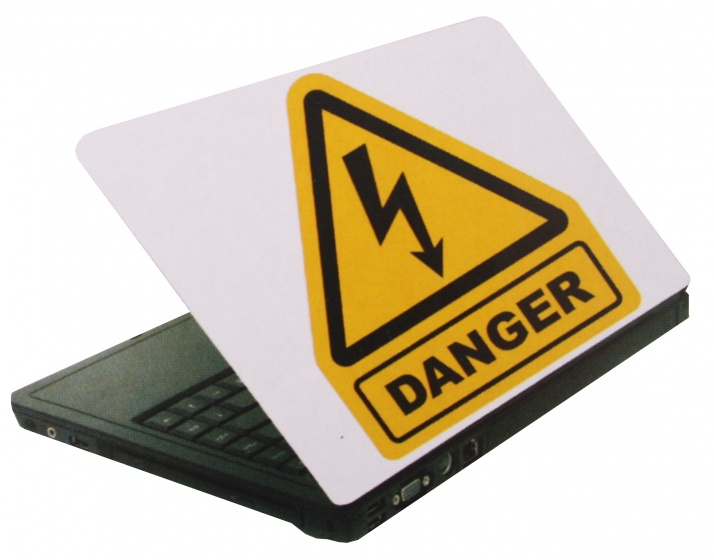Amigo laptop sticker danger wit/geel