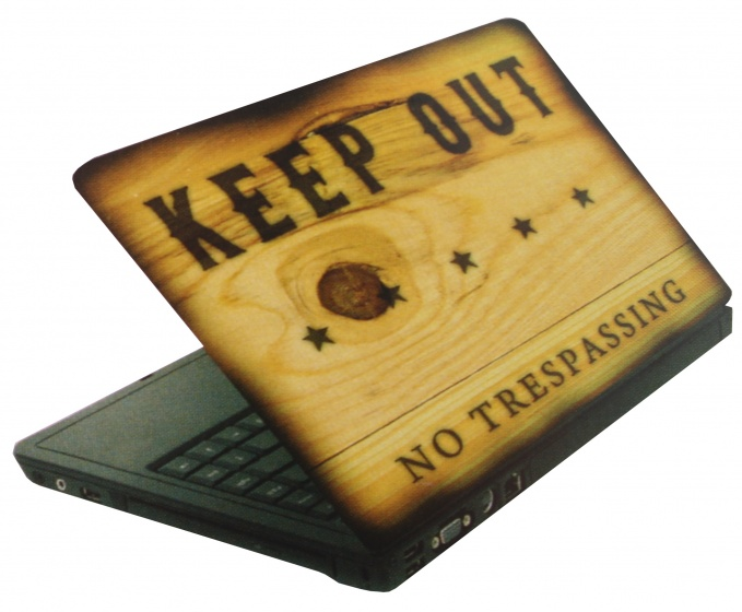 Amigo laptop sticker keep out lichtbruin