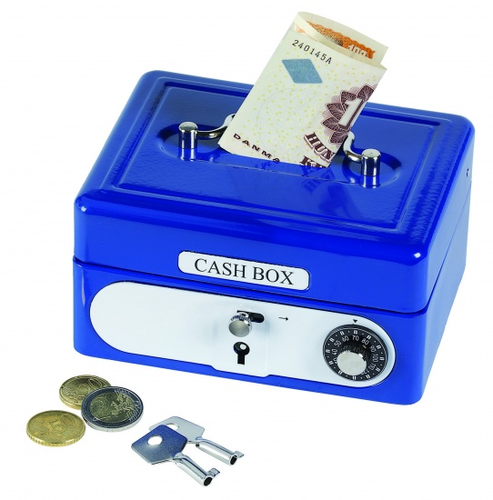 Amigo Metalen Spaarpot Koffer Blauw