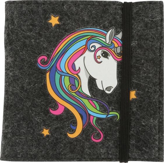 TOM Notitieboekje eenhoorn zwart 8.5 cm