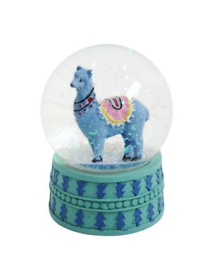 TOM sneeuwbol met glitter Lama 9 cm blauw kopen