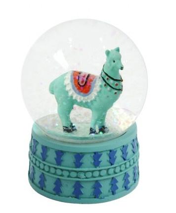 TOM sneeuwbol met glitter Lama 9 cm groen kopen
