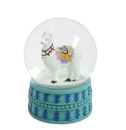 TOM sneeuwbol met glitter Lama 9 cm wit kopen