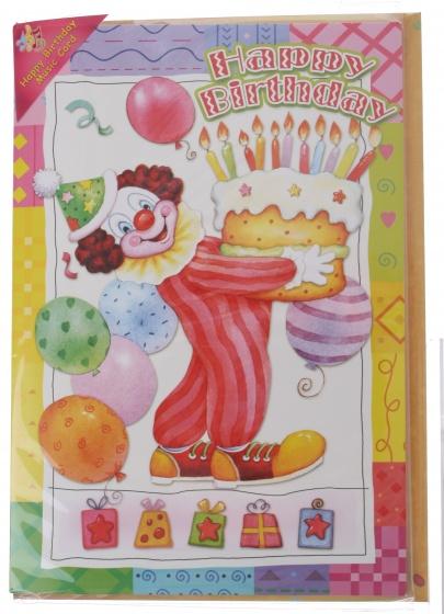 Amigo verjaardagskaart met geluid clown 20 cm