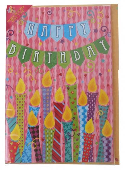 Amigo verjaardagskaart met geluid kaarsjes 20 cm