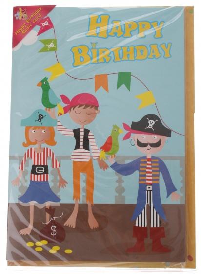 Amigo verjaardagskaart met geluid piraat 20 cm