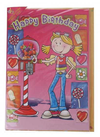 Amigo verjaardagskaart met geluid snoep 20 cm