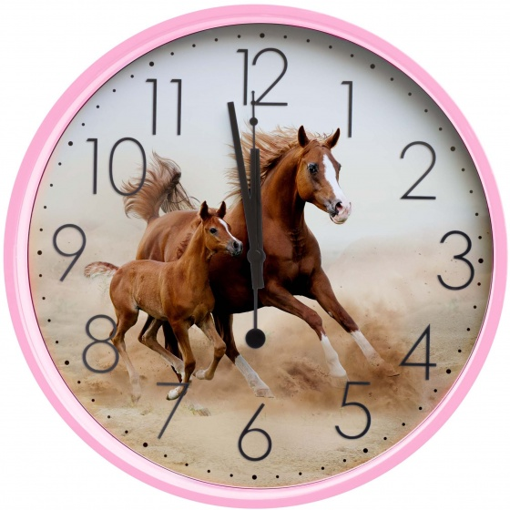 Amigo Wandklok paarden 25 cm