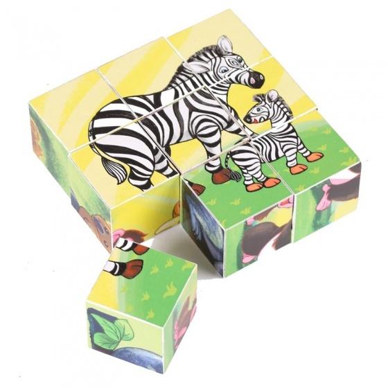 Amleg houten blokpuzzel wilde dieren 10 x 10 x 3,6 cm