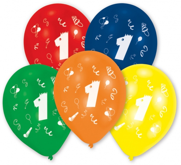 Amscan ballonnen 1 jaar 10 stuks 25 cm