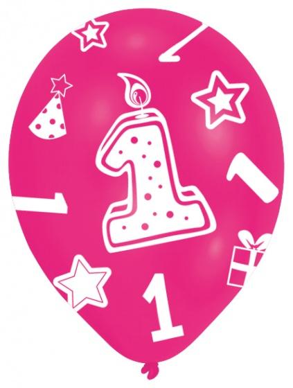 6 Ballone rosa Zahl 1 27.5cm