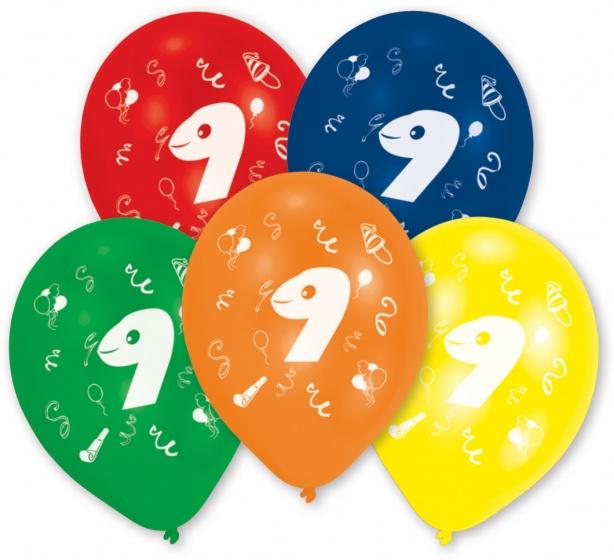 Amscan ballonnen 9 jaar 10 stuks 25 cm