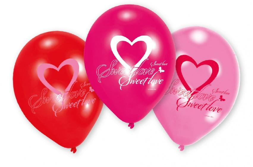 Amscan ballonnen Lovely Moments 23 cm rood/roze 6 stuks
