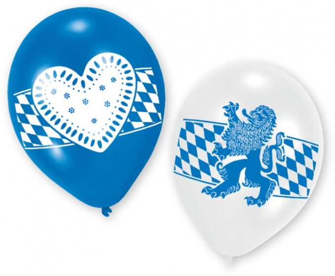 Amscan ballonnen Oktoberfest 23 cm blauw/wit 6 stuks