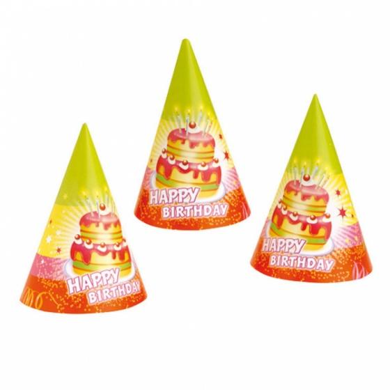 Amscan feesthoedjes happy birthday 6 stuks