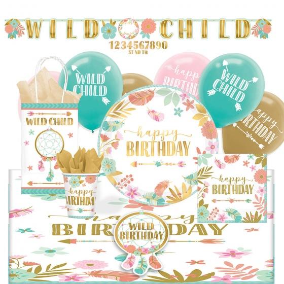 Amscan partypakket bloemen Wild Child junior 56 stuks