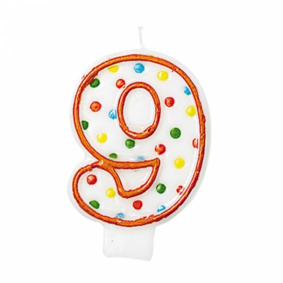 Amscan verjaardagskaars 8 Polka Dots 7,6 cm oranje/wit