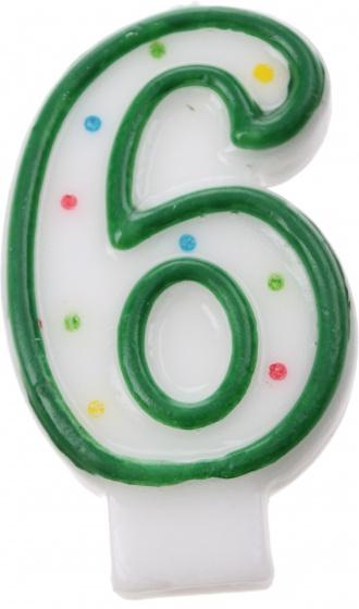 Amscan verjaardagskaars nummer 6 groen