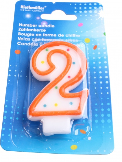 Amscan verjaardagskaarsje cijfer 2 oranje