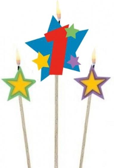 Amscan verjaardagskaarsjes 1 Star 12,2/13,5 cm 3 delig