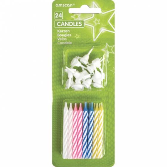 Amscan verjaardagskaarsjes 6,3 cm 4 Colour 36 delig