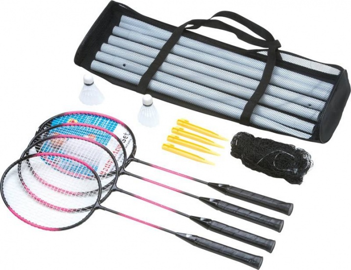 Angel Sports badmintonset 15 delig zwart/paars