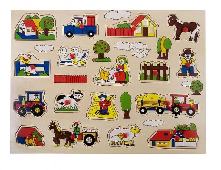 Angel Toys Houten knopjespuzzel boerderij 17 stukjes
