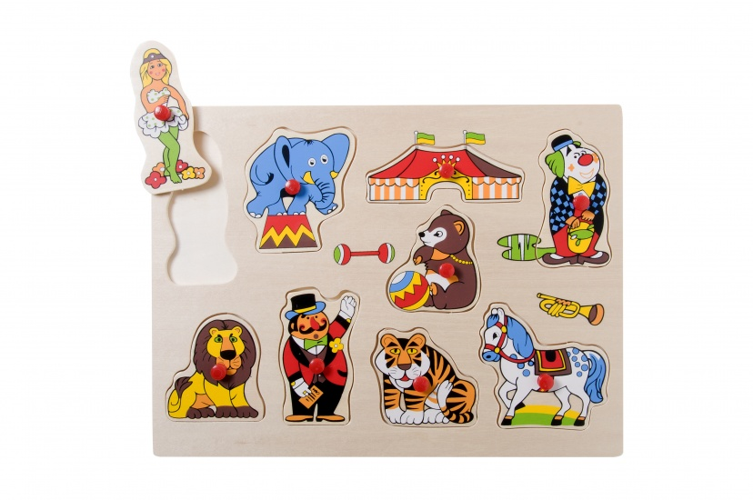 Angel Toys Houten Knopjespuzzel Circus 9 Stukjes