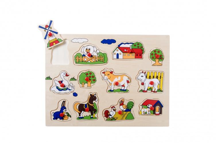 Angel Toys Houten Knopjespuzzel Dieren 12 Stukjes