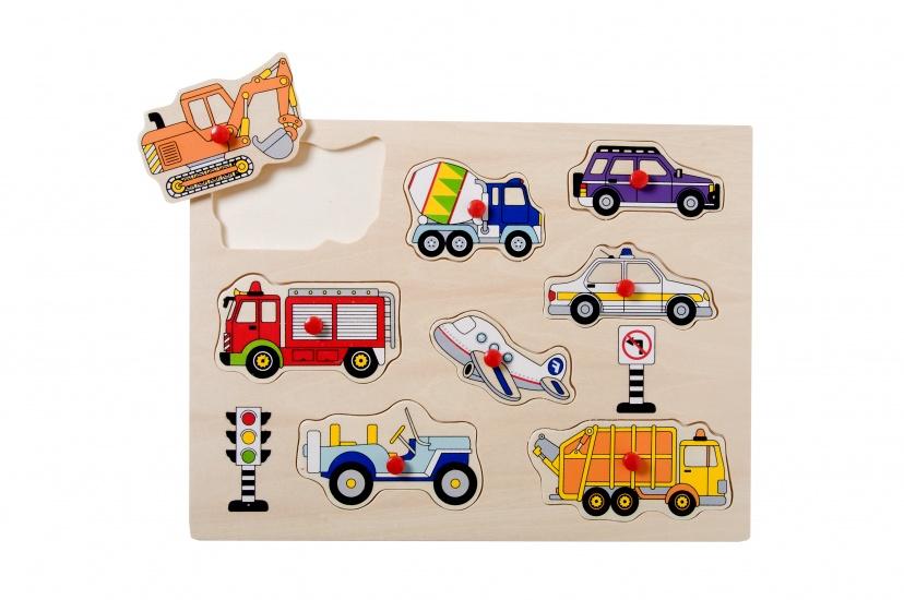 Angel Toys Houten Knopjespuzzel Voertuigen 8 Stukjes