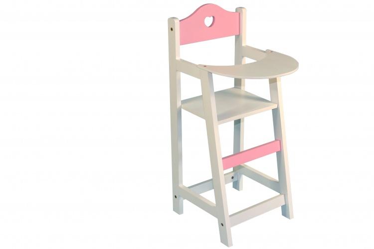 Poppen kinderstoeltje hout wit met roze