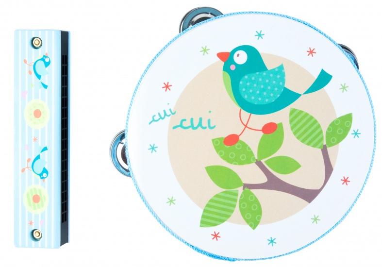 Angel Toys Muziekset tamboerijn + mondharmonica vogel blauw