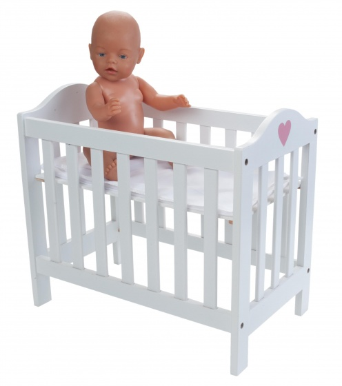 adjustable doll's bed 49 x 29.5 x 44.5 cm wood white
