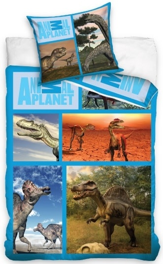 Animal Planet Dekbedovertrek dino's 140 x 200 cm blauw