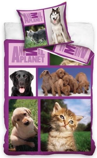 Animal Planet dekbedovertrek huisdieren 140 x 200 cm paars