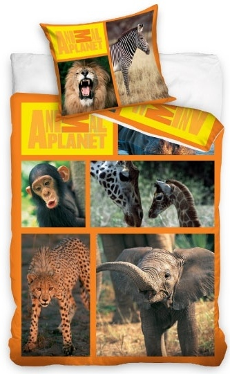 Animal Planet dekbedovertrek Wilde Life 140 x 200 cm oranje