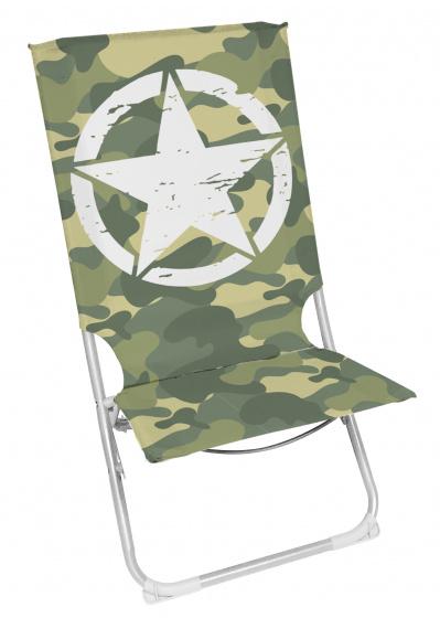 Arditex inklapbare ligstoel legerprint 49 x 74 cm polyester groen