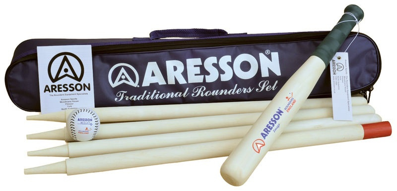 Aresson rounders set Family bal knuppel hout blank/groen 8 delig