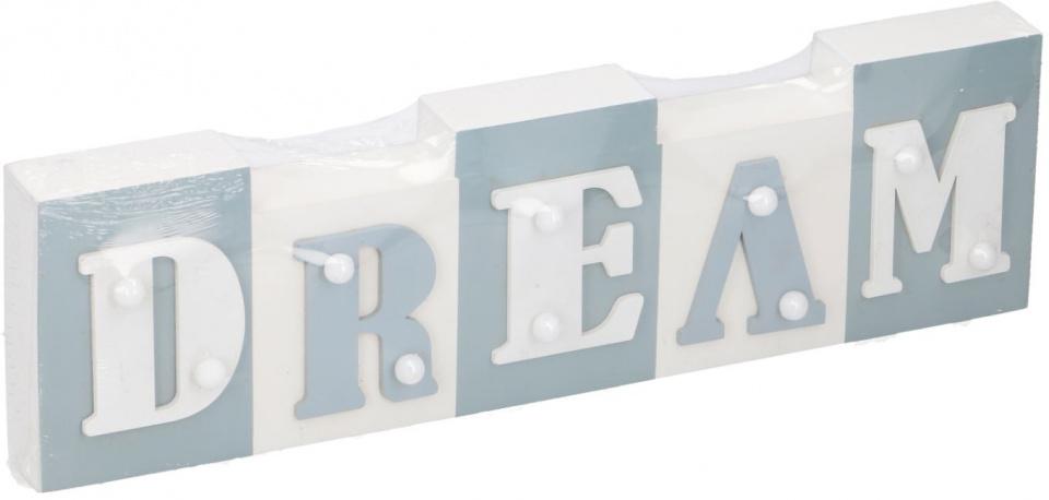 Arti Casa tekstbord met LED Dream 34x9x3,5 cm hout wit-lichtblauw